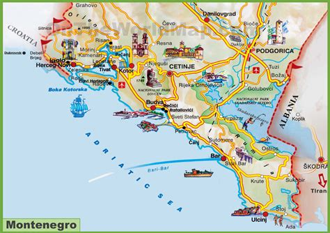 of montenegro montenegro sea coast map