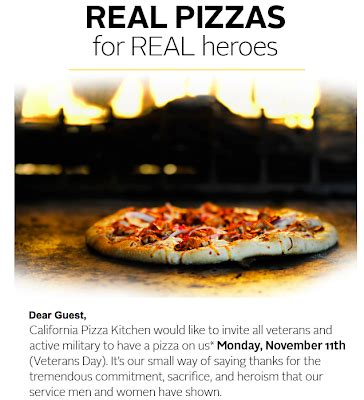 california pizza kitchen briarwood mall free is my free pizza for veterans and active