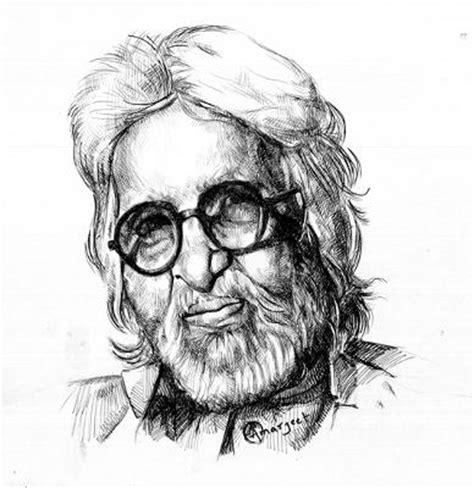 M F Hussain Sketches by Portrait Of M F Hussain