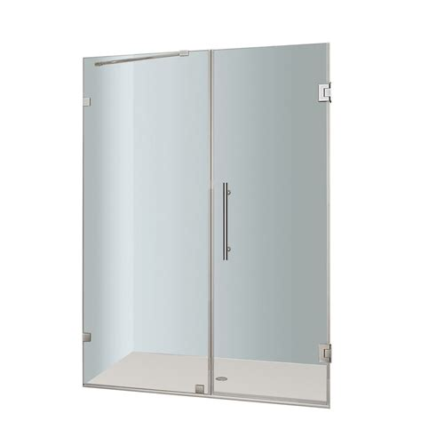 52 Inch Shower Door Aston Nautis 52 In X 72 In Completely Frameless Hinged Shower Door In Stainless Steel The
