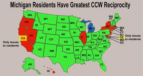 ccw reciprocity map michigan cpl reciprocity map michigan map