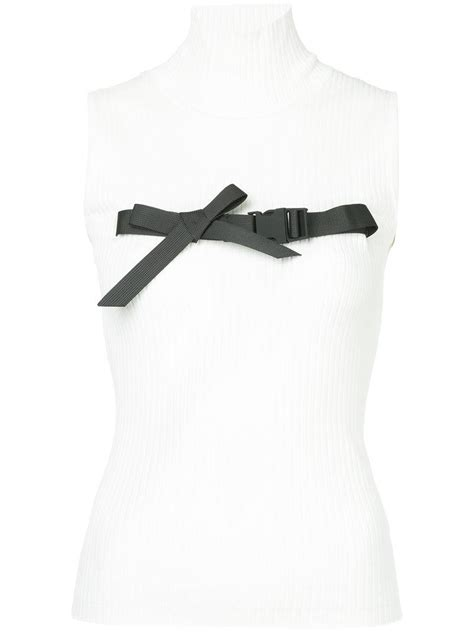 Buckled Tank Top lyst shushu tong buckled bow tank top in white