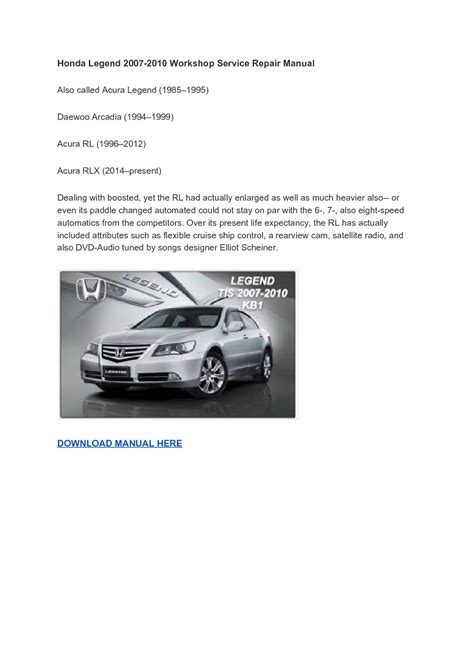 service repair manual free download 2012 acura rl navigation system honda legend 2007 2010 workshop service repair manual