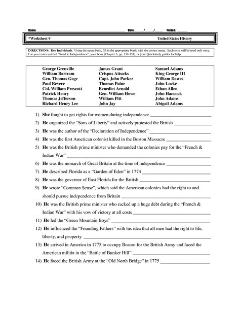 Free History Worksheets For Middle School by Free Printable Worksheets For High School Us History Us