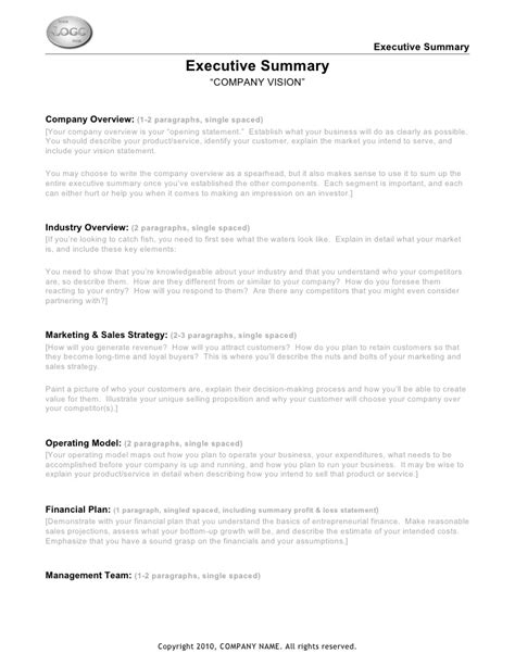Ict Executive Summary Template Business Overview Template