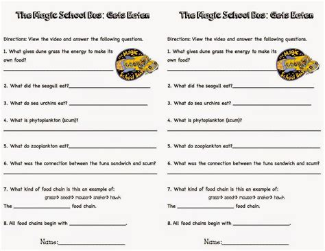 the magic school worksheets food chain and food webs c k