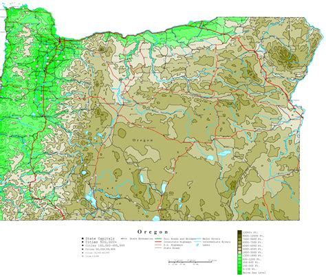 map of oregon cities oregon contour map