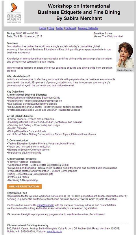 proposal business dining etiquette workshop on international business etiquette and fine