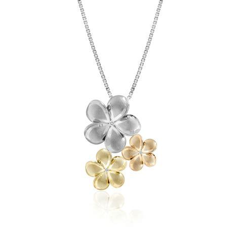 tri color gold three plumeria flower pendant