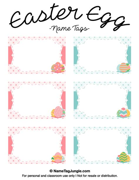 Easter Place Card Templates Free by Free Printable Easter Egg Name Tags The Template Can Also
