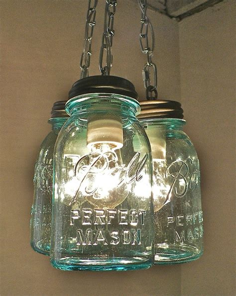 Handcrafted Blue Green Vintage Mason Three Jar Pendant Light Jar Pendant Lights