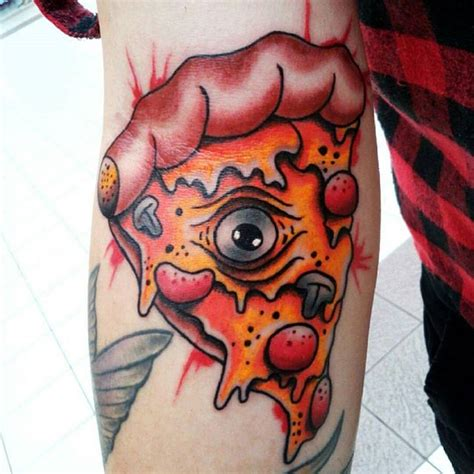 pizza slice tattoo black and grey pizza slice