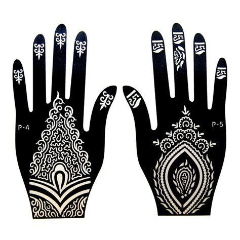 1pair 2pcs left right hand mehndi henna tattoo stencils