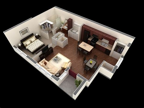 Bedroom One 50 One 1 Bedroom Apartment House Plans Architecture