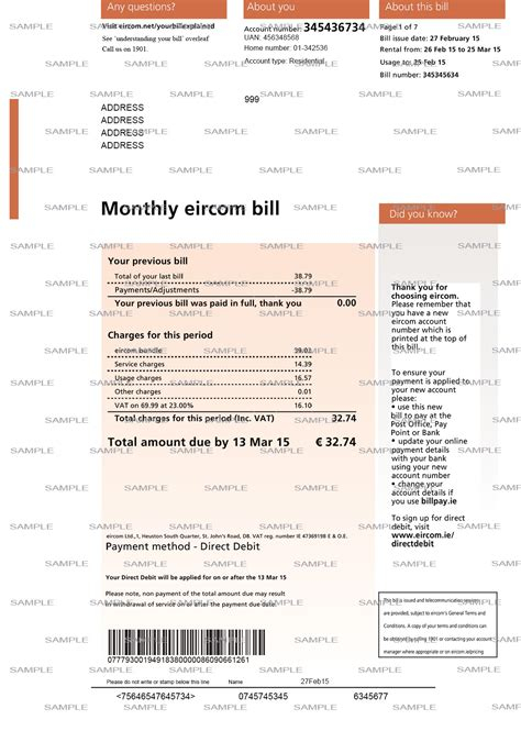 water bill template bing images