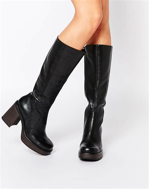 vagabond black leather knee high boots in blue lyst