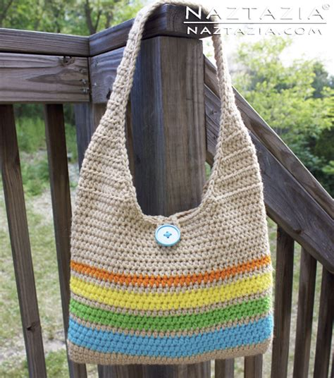 tote bag pattern free youtube easy crochet striped handbag tote purse bag by donna