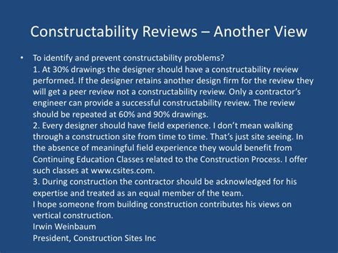 constructability report template constructability in construction