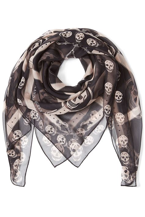 mcqueen printed silk skull scarf black in