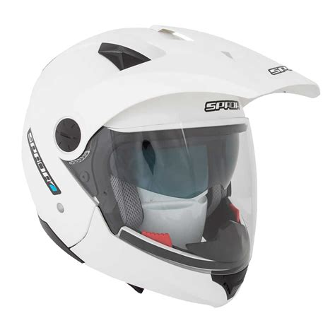 white motocross helmets spada duo solid plain pearl white dual sport motorcycle