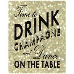 Wooden Signs For Home Decor 11x14 gold time to drink champagne and dance on the table