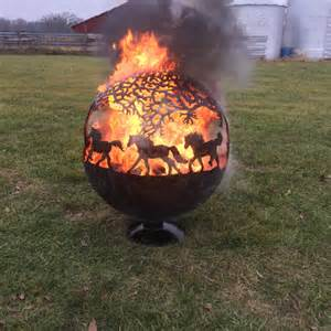Fire Pit Supplies by Items Similar To Fire Pit Sphere Globe With Horses On Etsy