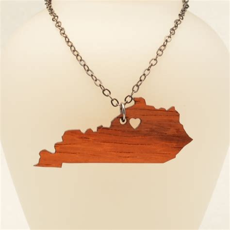 kentucky wooden state necklace ottava designs