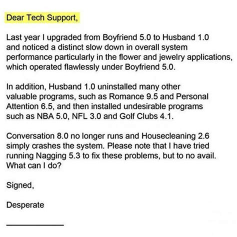 Complaint Letter Against Husband Tech Support Offers Relationship Tips Emails Housekeeping
