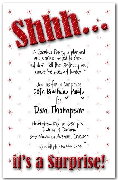 shhh its a surpise party invitation gold glitter black and white