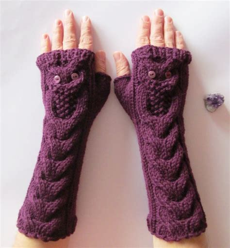 owl fingerless gloves knitting pattern chunky hand purple long hand knitted gloves with owls knits
