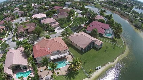 middle class homes in florida aerial view stock footage