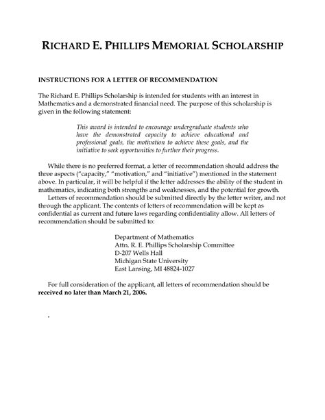 Questbridge Scholarship Letter Of Recommendation sle recommendation letter for scholarship grant