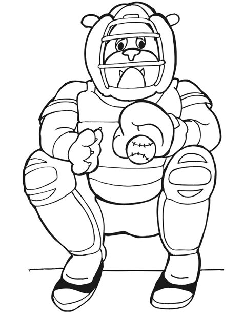 printable baseball coloring page dog baseball catcher