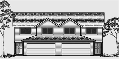 Duplex House Plans 25 Ft Wide House Plans D 477 Duplex House Plans With 2 Car Garage