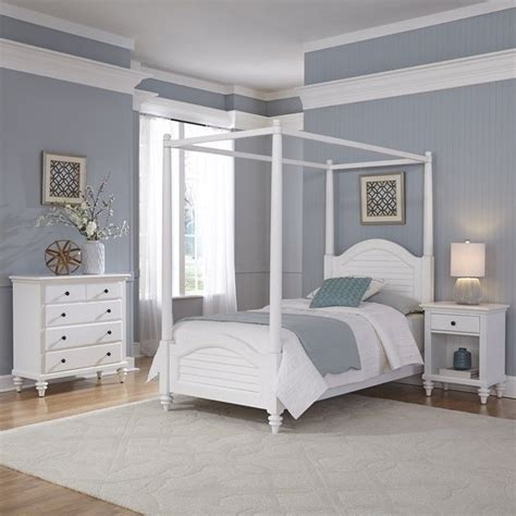 3 Piece White Bedroom Set | 3 piece wood twin canopy bedroom set in white 5543 4102