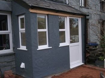 timber framed porch in cwm penmachno
