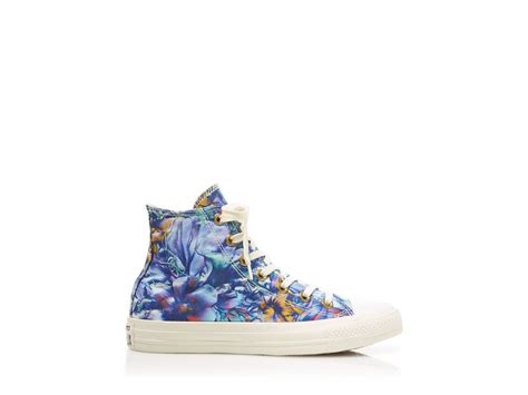 lyst converse high top sneakers floral print  blue