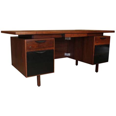 two tone desk jens risom two tone walnut executive desk at 1stdibs