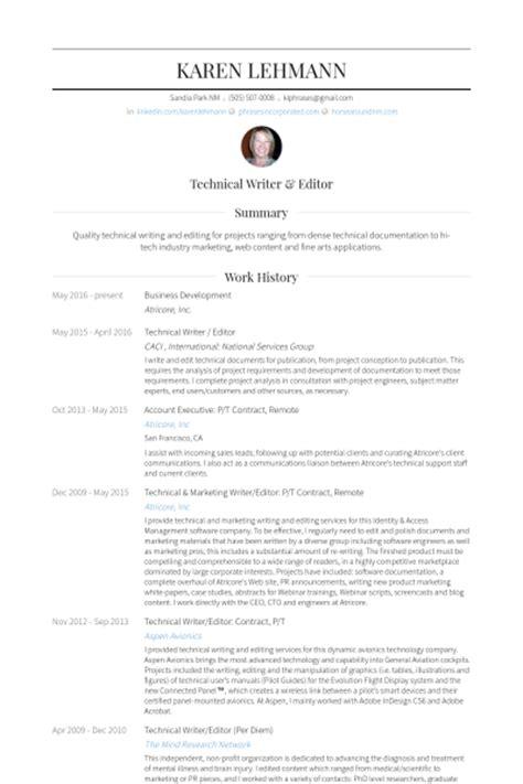 Technical Writer Resume by Technical Writer Resume Sles Visualcv Resume Sles