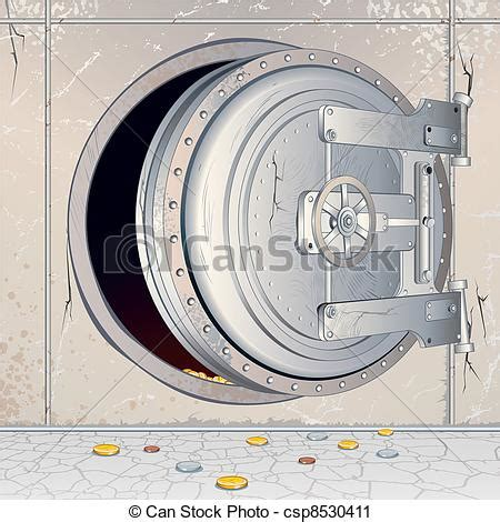 vector clip of opened empty bank storage opened bank vault door with an csp8530411