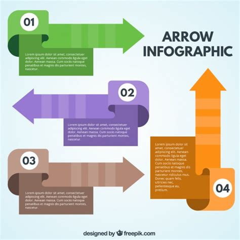 colored flats colored flat arrows for infographic vector free