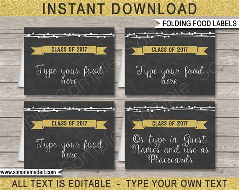 graduation party food labels place cards editable