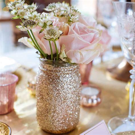 gold glitter jar vase for wedding centrepieces martina
