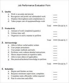 work performance evaluation template performance evaluation 7 documents in pdf