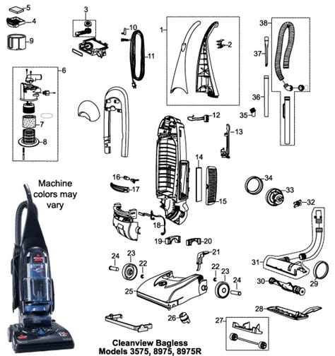 bissell carpet cleaner parts diagram bissell 3575 cleanview bagless vacuum cleaner parts