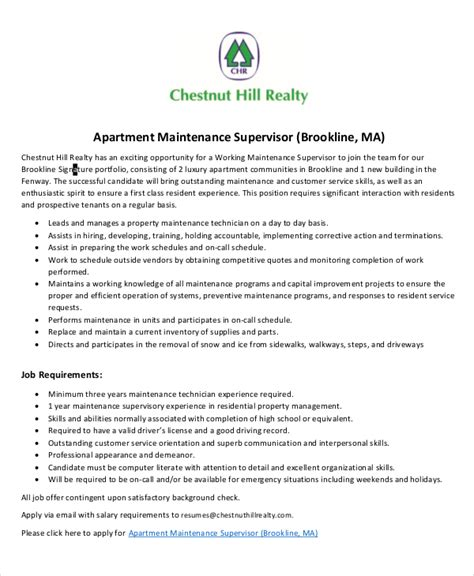maintenance job description 9 free pdf documents