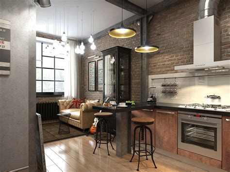 Brick Kitchen Design three colored loft apartments with exposed brick walls