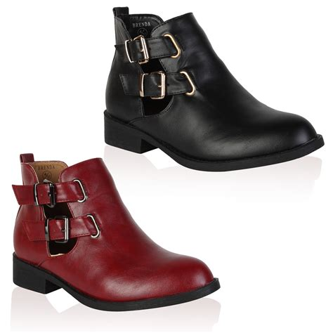 faux leather cut out womens flat winter buckle