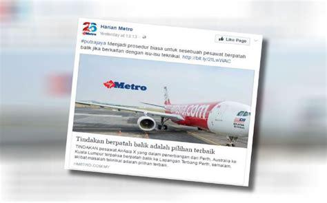 airasia ganti jadwal penerbangan puji kru pesawat airasia x harian metro
