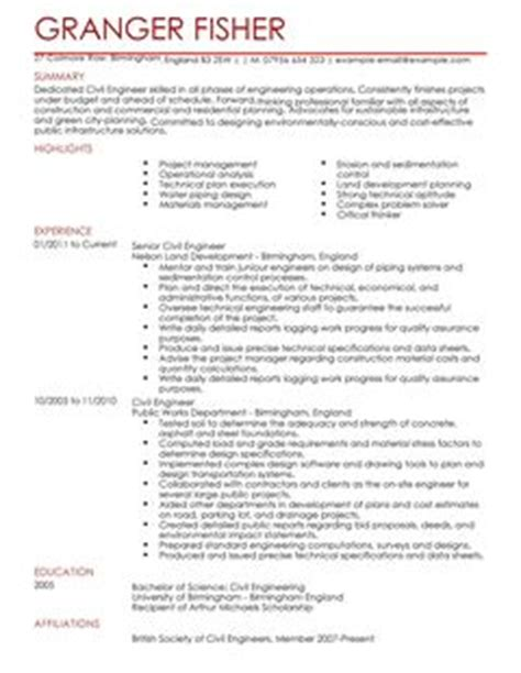 Samples Of Administrative Resumes by Civil Engineer Cv Example For Engineering Livecareer